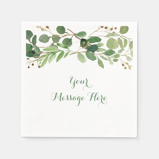 Rustic Green Floral Bridal Shower Paper Napkin