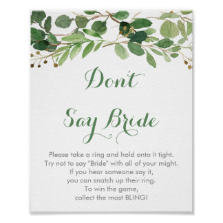 Rustic Green Floral Don't Say Bride Game Poster