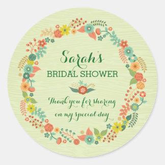 Rustic Green Floral Wreath Bridal Wedding Shower Round Stickers