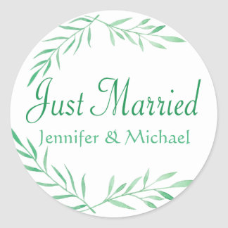 Rustic Green Just Married Watercolor Leaves, Ferns Classic Round Sticker