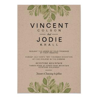 Rustic Green Leaves | Watercolor Wedding Invite