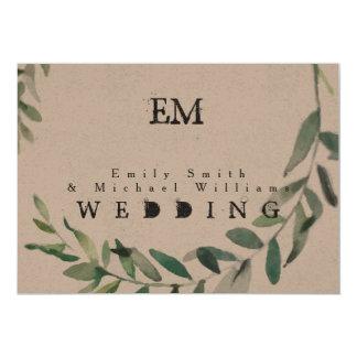 Rustic Green Leaves Wedding Kraft Paper Invitation