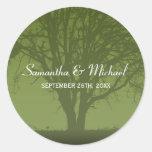 Rustic Green Oak Tree Wedding Favour Label Round Stickers