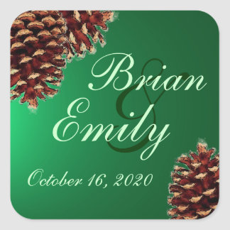 Rustic green pine cone custom wedding labels square sticker