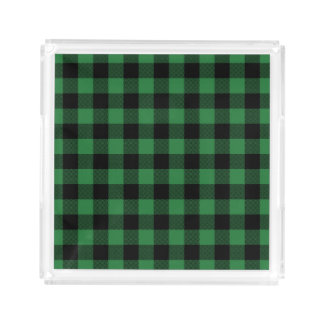 Rustic Green Plaid Pattern Holiday Acrylic Tray