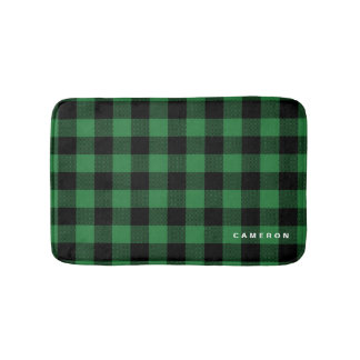 Rustic Green Plaid Pattern Holiday Personalized Bath Mat