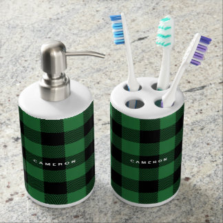 Rustic Green Plaid Pattern Holiday Personalized Soap Dispenser And Toothbrush Holder