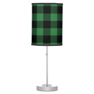 Rustic Green Plaid Pattern Holiday Personalized Table Lamp