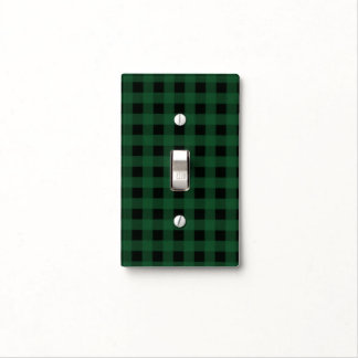 Rustic Green Red Checkered Buffalo Plaid Pattern Light Switch Cover