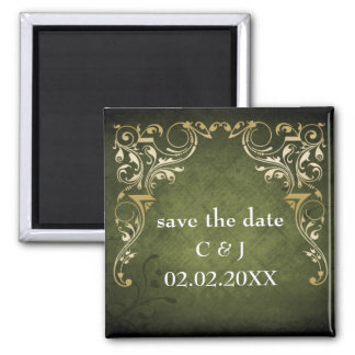 rustic green regal save the date magnets magnet