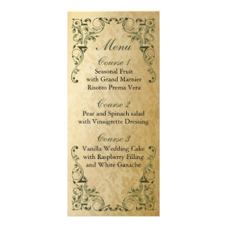 rustic green regal wedding menu customized rack card