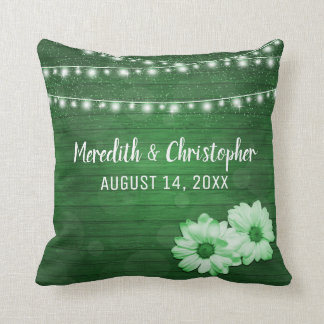 Rustic Green String Lights and Daisies Wedding Throw Pillow