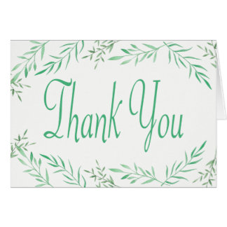 Rustic Green Thank You Watercolor Leaves, Ferns Card
