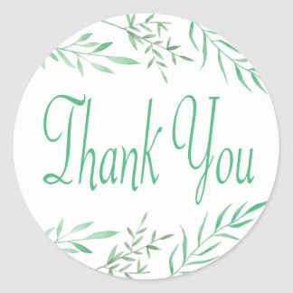Rustic Green Thank You Watercolor Leaves, Ferns Classic Round Sticker