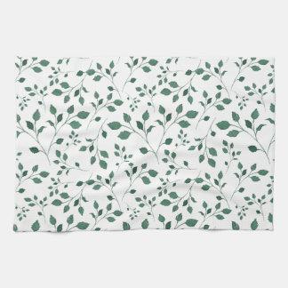 Rustic Green Watercolor Foliage Pattern Kitchen Towel