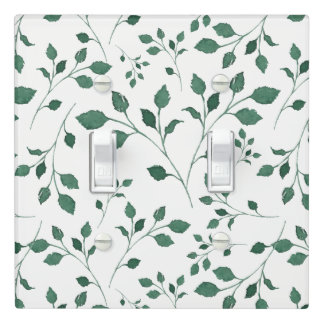 Rustic Green Watercolor Foliage Pattern Light Switch Cover