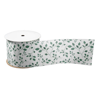 Rustic Green Watercolor Foliage Pattern Satin Ribbon