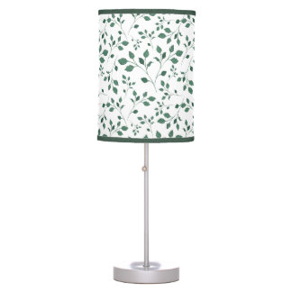 Rustic Green Watercolor Foliage Pattern Table Lamp