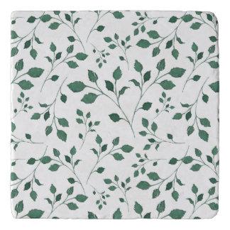 Rustic Green Watercolor Foliage Pattern Trivet