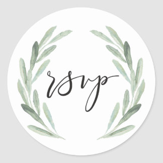 Rustic Green Watercolor Olive Branch Wreath RSVP Classic Round Sticker