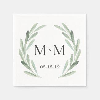 Rustic Green Watercolor Wreath Monogram Wedding Paper Napkin