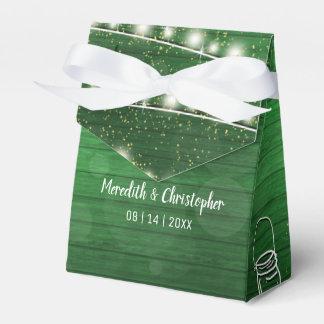 Rustic Green Wood String Lights Mason Jar Wedding Favor Box
