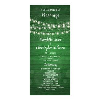 Rustic Green Wood String Lights Wedding Program