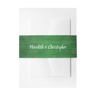 Rustic Green Wood Wedding Belly Band Invitation Belly Band