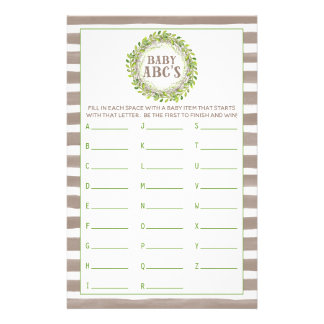 Rustic Green Wreath Baby Shower Game ABC's Stationery