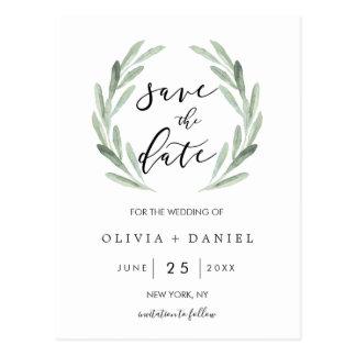 Rustic Green Wreath Simple Wedding Save the Date Postcard