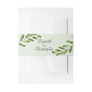 Rustic Greenery Leaves | Wedding Belly Band Invitation Belly Band