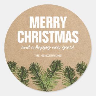 Rustic Greenery Merry Christmas Classic Round Sticker