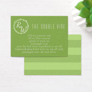 Rustic Greenery | Wedding Day Signature Cocktail Business Card