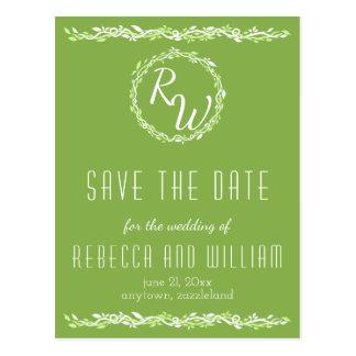 Rustic Greenery   Wedding Vine Save The Date Postcard