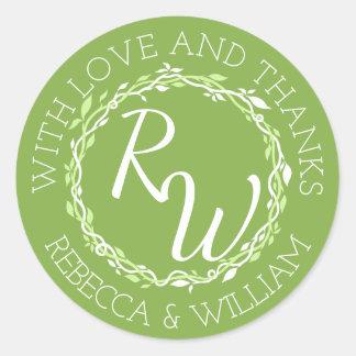Rustic Greenery   Wedding Vine Thank You Favour Round Sticker