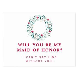 Rustic Greenery Wreath | Maid of Honor | Wedding Postcard