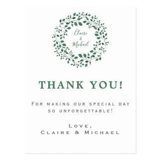 Rustic Greenery Wreath | Thank You Wedding Postcard