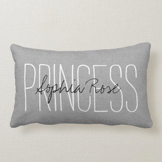 Rustic Grey Princess Monogram Lumbar Pillow