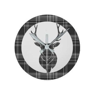 Rustic Grey Scottish Tartan And Stag Head Antler Round Clock