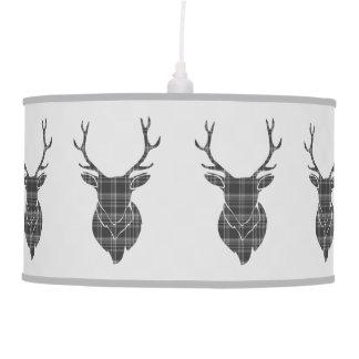 Rustic Grey Scottish Tartan Stags Head Antler Pendant Lamp