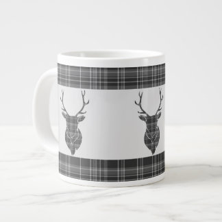 Rustic Grey Tartan And Stag Head Antler Pattern Large Coffee Mug