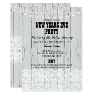 Rustic Grey Wood Lace New Years Day Eve Invite