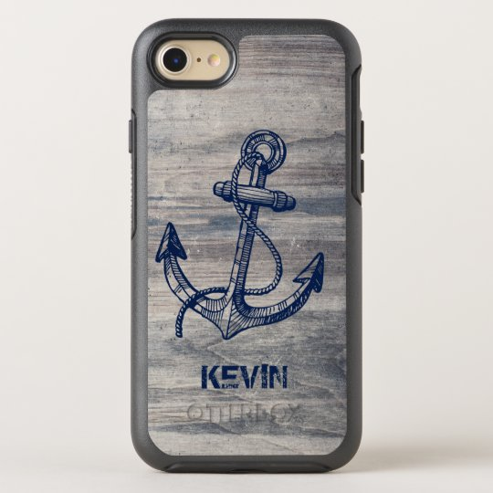Rustic Grey Wood Texture Midnight Blue Boat Anchor OtterBox Symmetry iPhone 7 Case