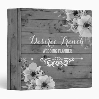 Rustic Grey Wood Wedding Planner Vintage Floral Vinyl Binder