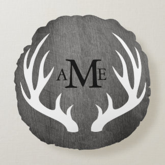 Rustic Grey Wood White Deer Antlers Personalized Round Pillow
