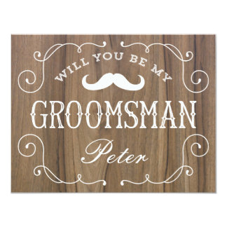 "Rustic Groomsman | Groomsmen 4.25"" X 5.5"" Invitation Card"