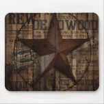rustic grunge fashion texas star western mouse pad