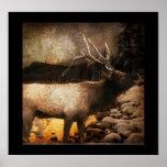rustic grunge modern vintage woodland elk poster
