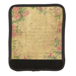 Rustic,grunge,paper,vintage,floral,text,roses,rose Luggage Handle Wrap