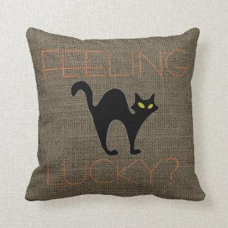 Rustic Halloween Spooky Black Cat Burlap Throw Pillow